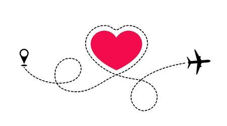 La route de l'amour voyage en avion. L'avion dessine en pointillés la forme du cœur. Amour aventure.
