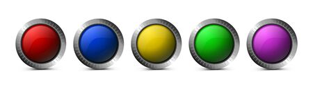 Set of glass buttons of round shape isolated on white background. Vector glass buttons for interface design, apps, web, games, software and more.