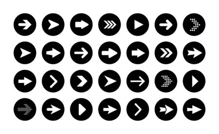Vector arrow buttons in round shape. Set of flat icons, signs, symbols arrow for interface design, web design, apps and more.