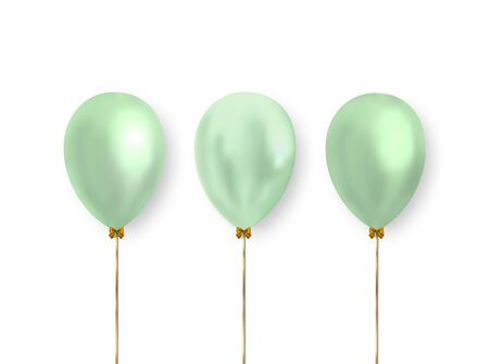 Cute green pastel color balloons isolated on white background. Ready vector clipart for decoration the design of greeting, holiday, wedding banners, cards and more. Ilustrace