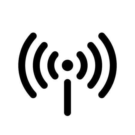 Wifi icon isolated on white background. Free wifi icon. Vector wlan access, wireless wifi hotspot signal sign, icon, symbol. Ready symbol for interface design of various types of devices and more. Illustration