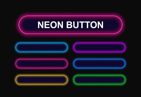 Rectangular neon buttons with rounded corners for web design. Bright neon buttons blue, red, green, yellow, purple color. Template for web design.