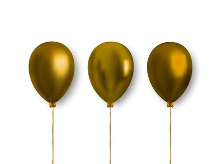 Set of golden shiny inflatable balloons isolated on white background. Glossy realistic balloons for decoration greeting cards, banners, illustrations and more.