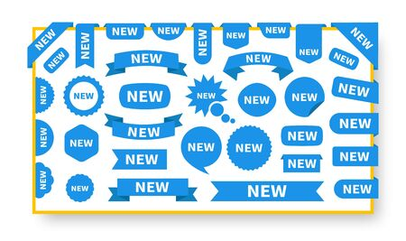 New sticker set labels on the template. Blue flat sticker icon with text new. Vector product stickers with offer. Stock Illustratie
