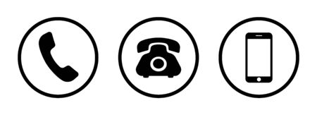 Phone icon set. Set of vector handset, phone, smartphone icons for use in web design, business card design and interface. Illustration