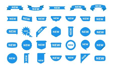 New sticker set labels isolated on white. Blue flat sticker icon with text. Vector product stickers with offer.