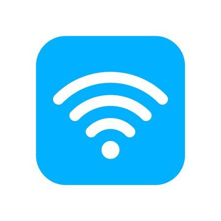 Blue Wifi sticker. Wlan icon for interface design. Wlan access, wireless wifi hotspot signal sign, icon, symbol. Illustration