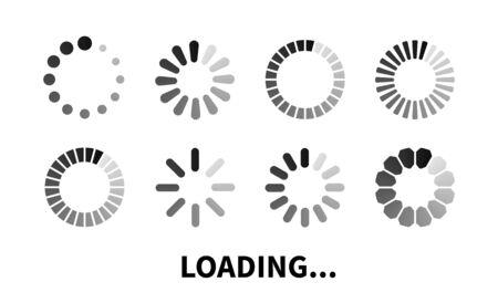 Set loading icon. Progress bar for upload download round process.