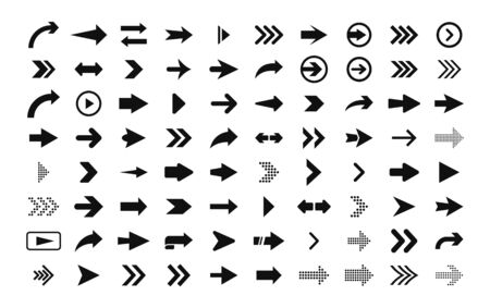 Arrows big set of black flat icons, symbols, signs. Arrow icon. Vector collection for web design, interface design, ui, apps and more. Stock Illustratie