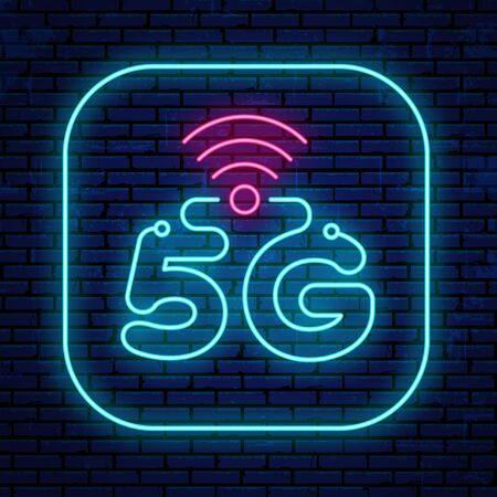 Neon 5G sign isolated on the wall background. Vector bright glowing 5G icon.