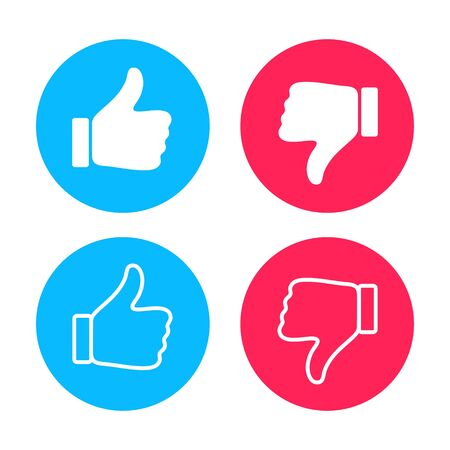 Thumb up and down, inscribed in circles. Like icon. Set of thumb up and down icons for use in advertising, marketing, social networks, interface, apps and web design.