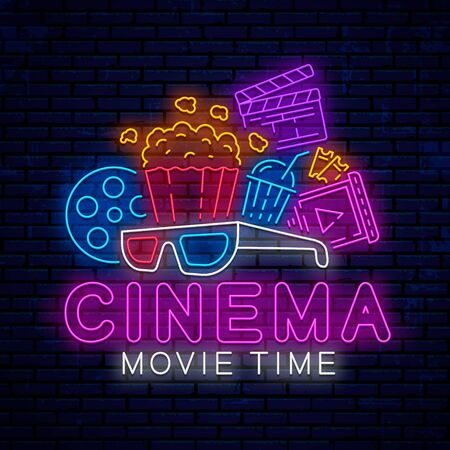 Cinema bright neon sign, icon, logo, emblem. Vector design for use in the web, advertising, poster and banner. Bright night neon signboard for the cinema industry. Movie logo. Stock Illustratie