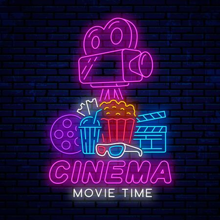 Neon design for banner, poster, advertising, sign for cinema. Bright design of neon emblem, logo, sign for cinema. Movie time.