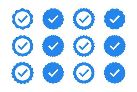 Set of quality icons. Blue flat star shape stickers. Profile Verification sign. Vector badges of warranty, approval, accept and quality. Flat vector check mark. Stock Illustratie