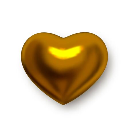 Golden heart. Vector realistic 3d clipart isolated on white background. Realistic golden heart for decoration wedding banners, invitation cards, and more.