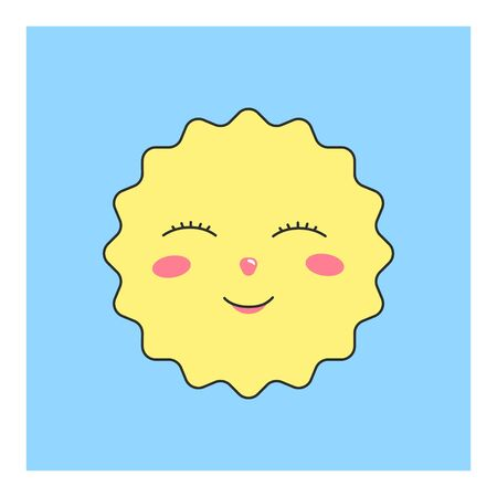 Cute yellow sun character isolated on pastel blue background. Cute sun character for design of childrens wallpapers, prints, patterns, fabrics, clothes.