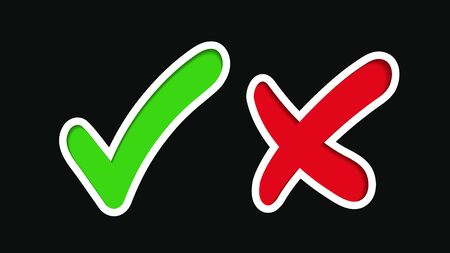 Green check mark, approval mark. Red cross, rejection sign. Green checkmark and red cross icon isolated on black background.