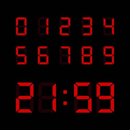 Red digital numbers set isolated on black background. Vector electronic figures for interface design.