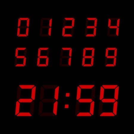 Vector digital clock number set. Electronic figures for interface design different types of devices.