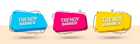 Bright banner templates for use in web and print. Vector trendy banners of square shape. Ready templates blue, red and yellow color. Stock Illustratie