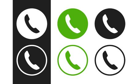Telephone icons set on white background. Handset icons for concept design business card, flyer, banner, interface, ui, app, web, marketing, advertising, poster and more. Stock Illustratie