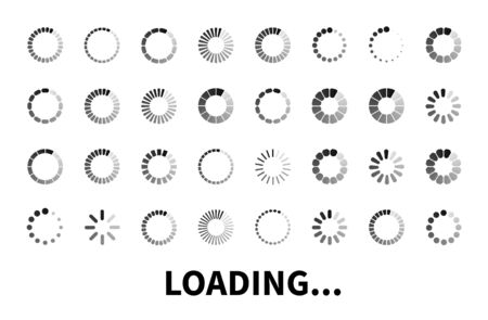 Loading icon big set isolated on white background. Vector loader icons for use in web design, app, interface and game. Load flat sign, symbol.