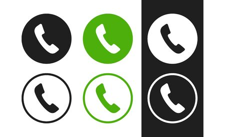 Phone vector icon. Contacts, call center sign. Handset icons for concept design. Flat phone icons.