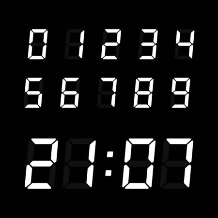 Digital clock number set. Electronic figures for interface design. Vector electronic numbers isolated on black background.