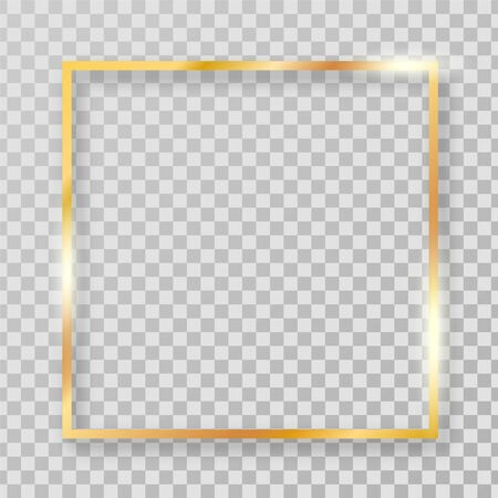 Square golden clipart frame for decorations. Vector golden realistic rectangle border. Stock Illustratie