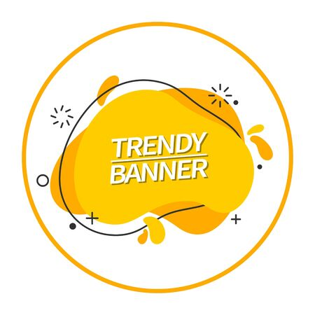 Yellow banner liquid shape. Trendy bright abstract banner. Template ready for use in web or print design. Stock Illustratie