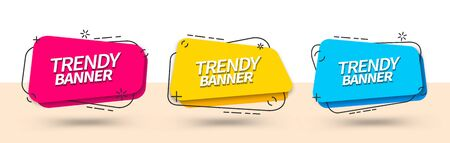 Trendy set of abstract banners square shape in Memphis style. Vector bright template banners. Template ready for use in web or print design. Stock Illustratie