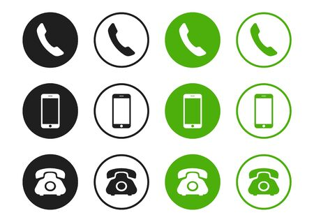 Phone, smartphone, handset vector icons isolated on white background. Flat phone symbol design.