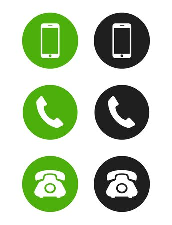 Telephone icons set on white background. Smartphone, handset and phone. Vector icons for concept design.