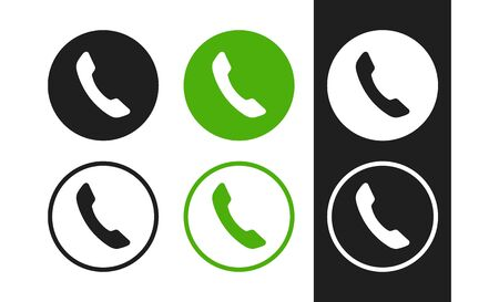 Flat phone icons. Contacts, call center sign. Handset icons for concept design ui, app, website, interface, ad, marketing, web, banner, business card, flyer and more.  Stock Illustratie