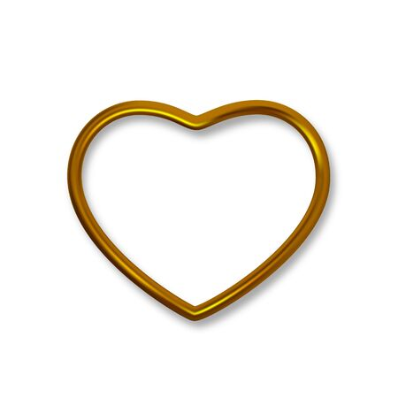 Gold shiny luxury realistic heart shaped frame isolated on white background. Vector golden border frame for decoration. Vector clipart object. Stock Illustratie