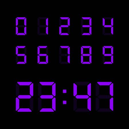 Digital clock number set. Electronic figures for interface design different types of devices. Vector electronic numbers isolated on black background. Stock Illustratie