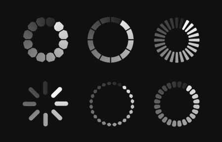 Vector load icons. Circle website buffer loader or preloader. Vector download or upload status icons.