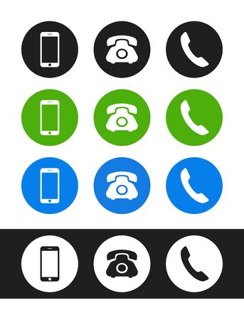 Smartphone, phone, handset icon. Vector phone icons, signs, symbols isolated on white background.