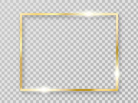Golden shiny frame with shadows isolated on transparent background. Vector gold border for decoration.