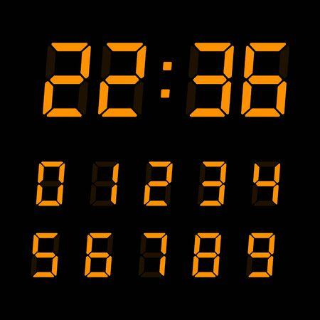 Orange digital numbers set isolated on black background. Vector electronic figures for interface design. Vektoros illusztráció