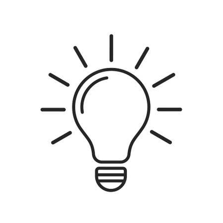 Light bulb line icon vector. Modern flat lamp sign. Idea symbol.