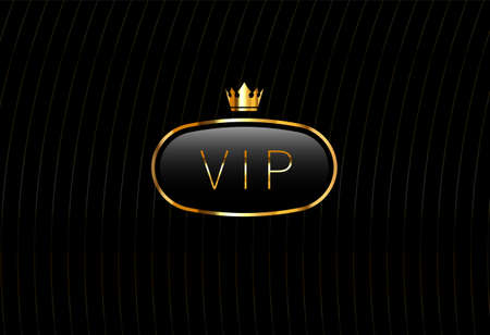 Vip black glass label with golden crown isolated on black background. Luxury template design. Vector premium icon design. Vettoriali