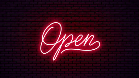 Open neon hand drawn lettering. Ready glowing signboard design. Vector neon text isolated on brick wall background.