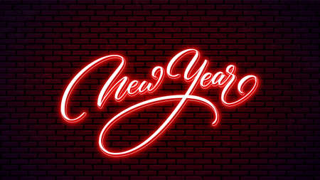New Year neon hand drawn lettering. Glowing holiday calligraphy isolated on wall background. Happy New Year neon text design.