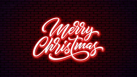 Christmas neon handwritten lettering isolated on wall background. Xmas bright text design. Merry Christmas hand lettering. Holiday calligraphy. 矢量图像