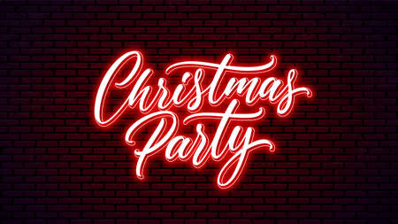 Christmas Party neon handwritten text isolated on wall background. Glowing holiday calligraphy.