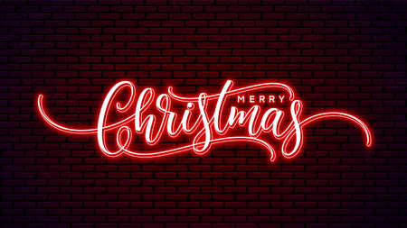 Christmas neon handwritten lettering isolated on wall background. Xmas glowing text design. Merry Christmas bright hand lettering. Holiday calligraphy. 矢量图像