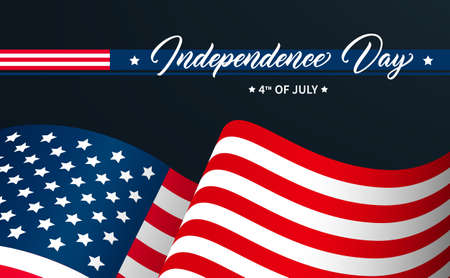 United States Independence Day greeting card design. Modern calligraphic text. USA Independence Day 4th of July hand drawn lettering on background with flag.