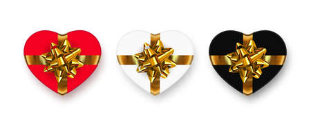 Gift box set. Romantic multicolored heart shaped gift boxes with shadows and golden bows.