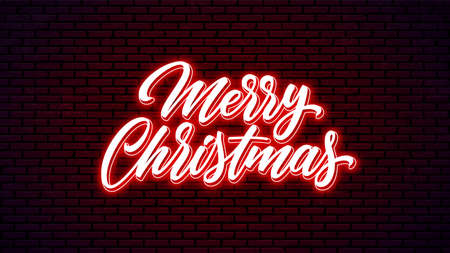 Merry Christmas neon hand drawn lettering. Glowing holiday calligraphy. 矢量图像